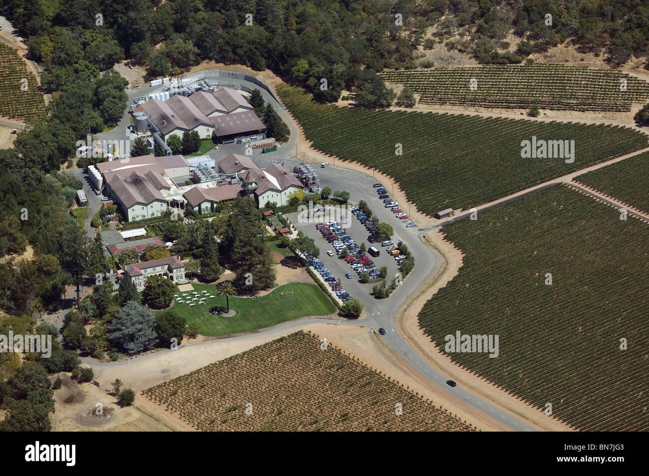 aerial view above vineyard tasting room Sonoma Valley California USA - Stock Image