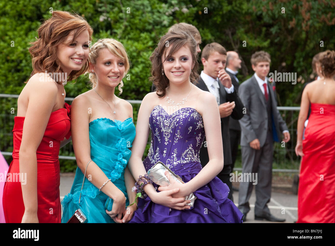 Teenage girls  dressed up for their Secondary School Prom,  Cambridgeshire, UK - Stock Image