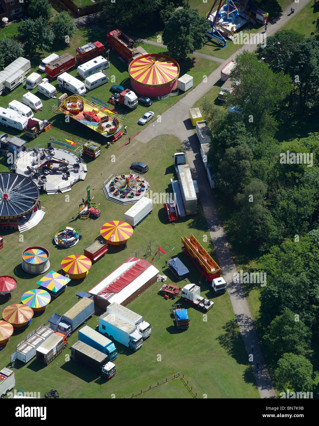 Travelling Fairground, County Durham, Northern England - Stock Image