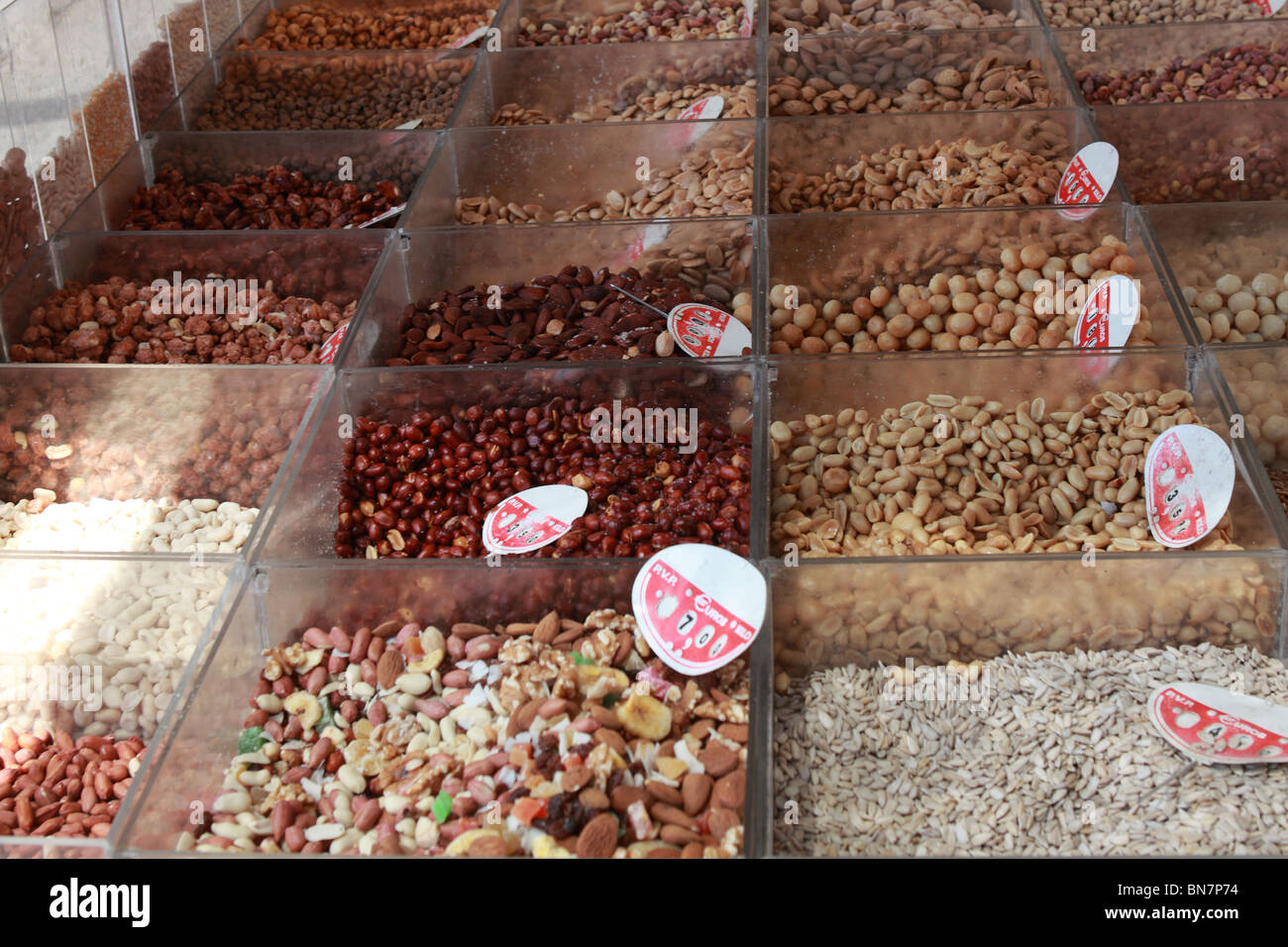 mixed nuts sale market - Stock Image
