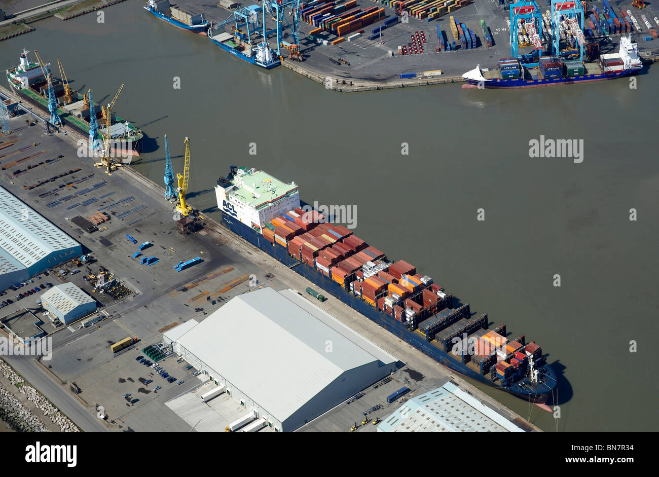 Liverpool Docks and the River Mersey from the air, North West England Stock Photo