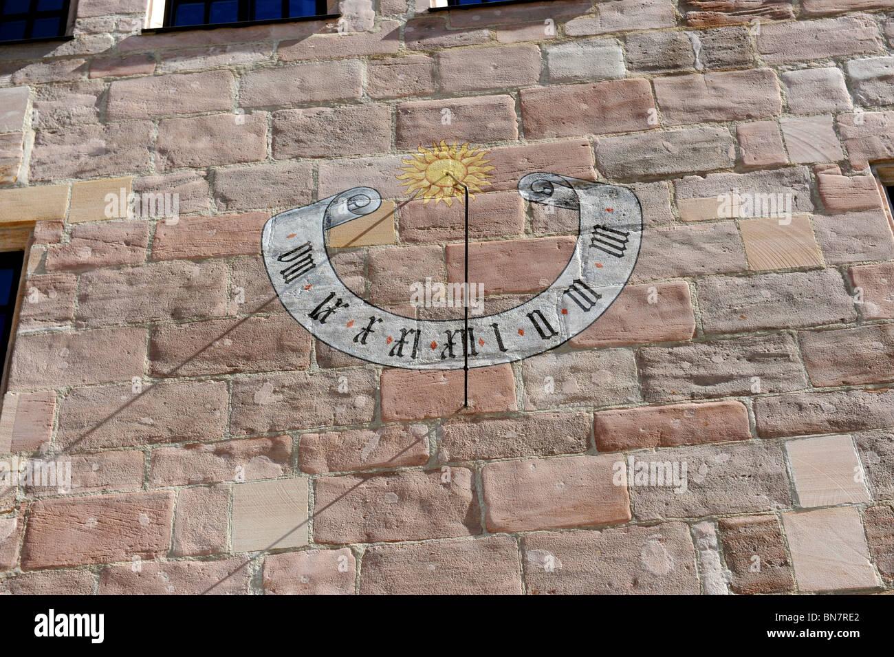 Sundial on the Schurstabhaus Nuremberg Germany Nurnberg Deutschland Europe - Stock Image