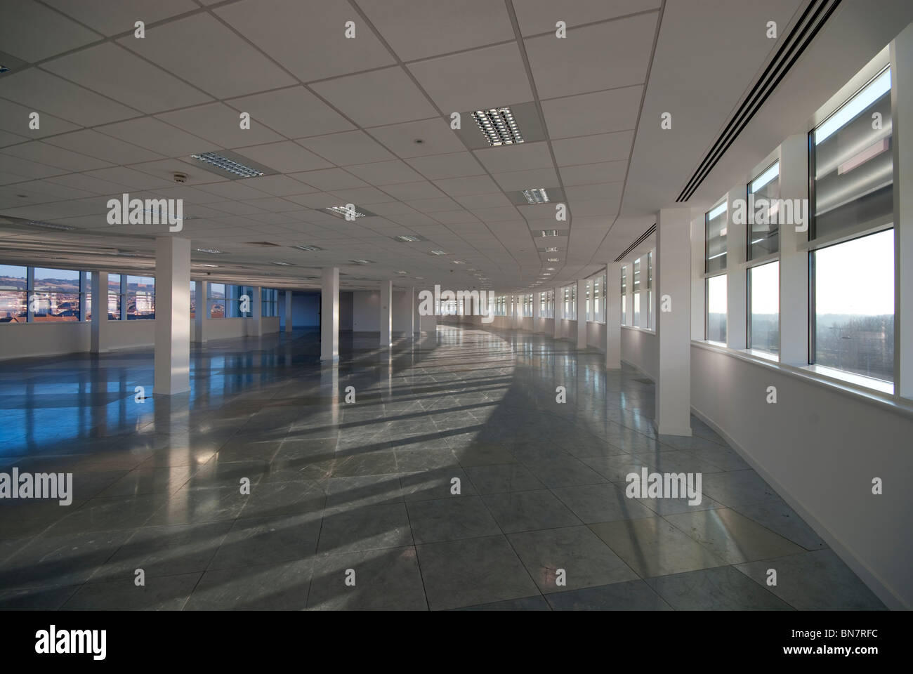 empty office open plan interiors  office building - Stock Image
