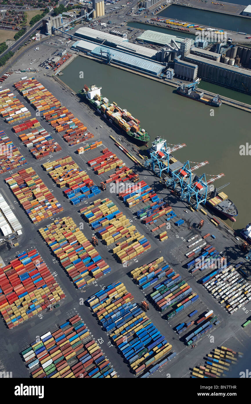 Bootle Docks, Liverpool from the air, North West England - Stock Image