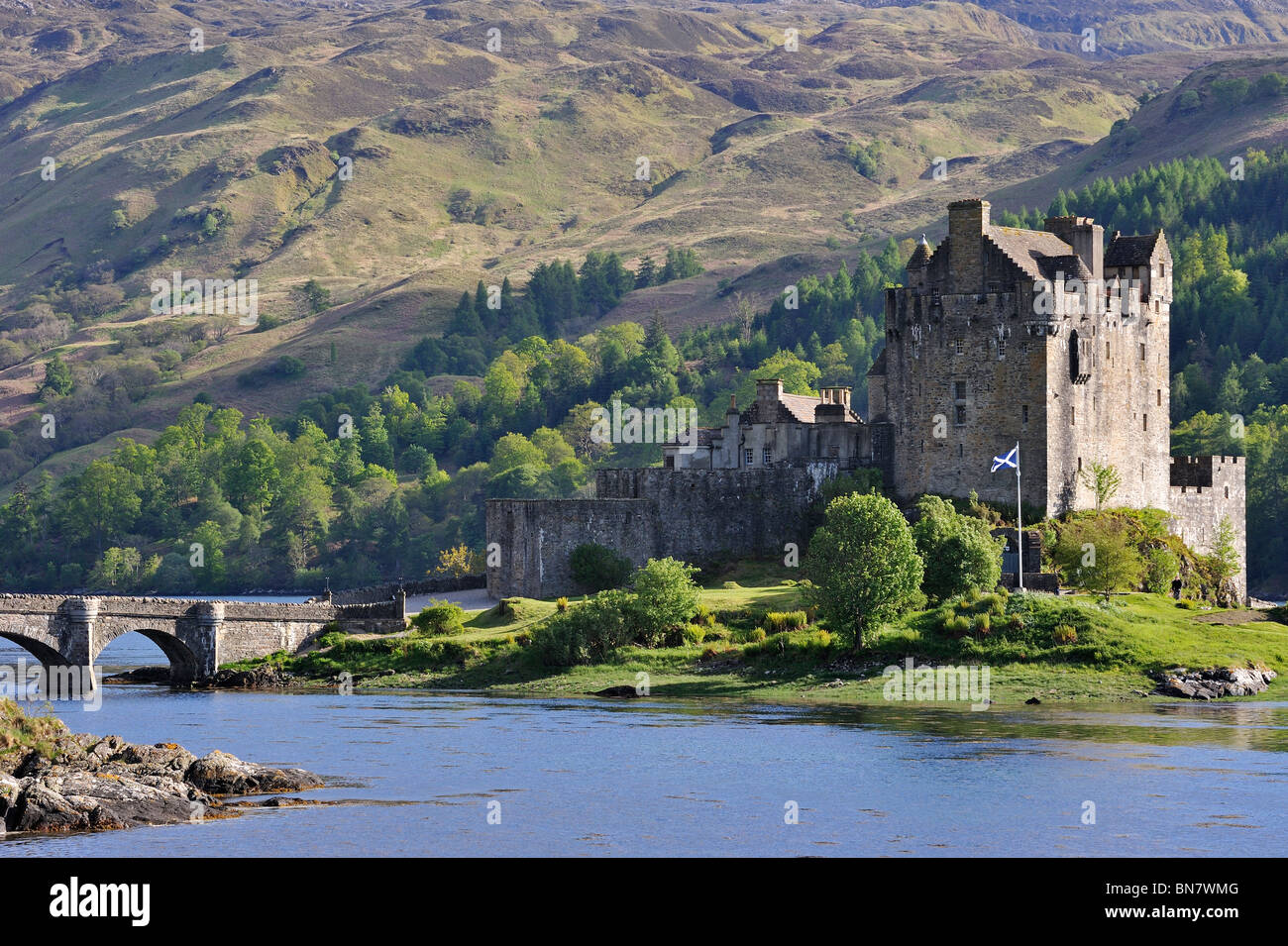 Eilean Donan Castle in Loch Duich in the Western Highlands of Scotland, UK - Stock Image