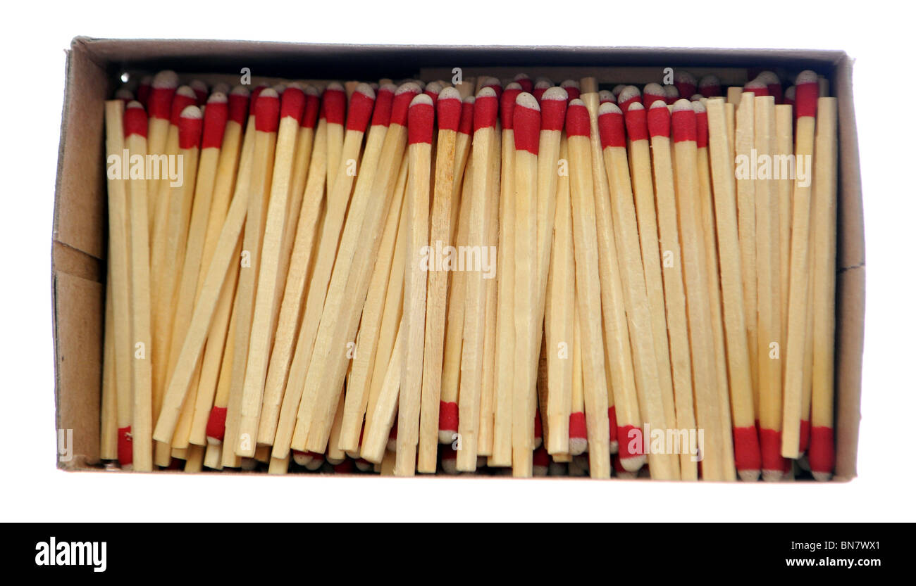 Wooden matchsticks in box isolated on white background. - Stock Image