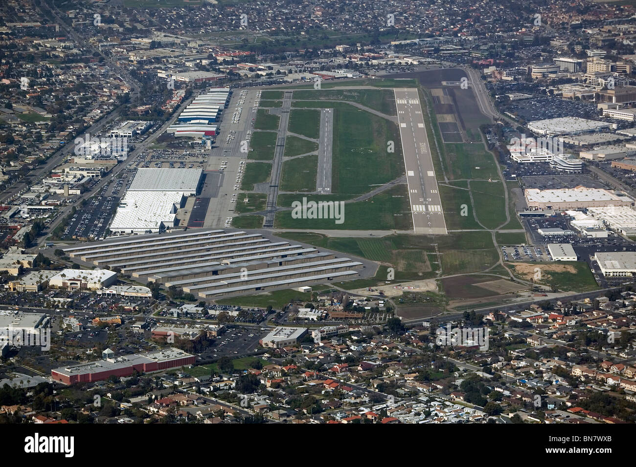 aerial view above Zamperini Field runways Torrance airport California - Stock Image