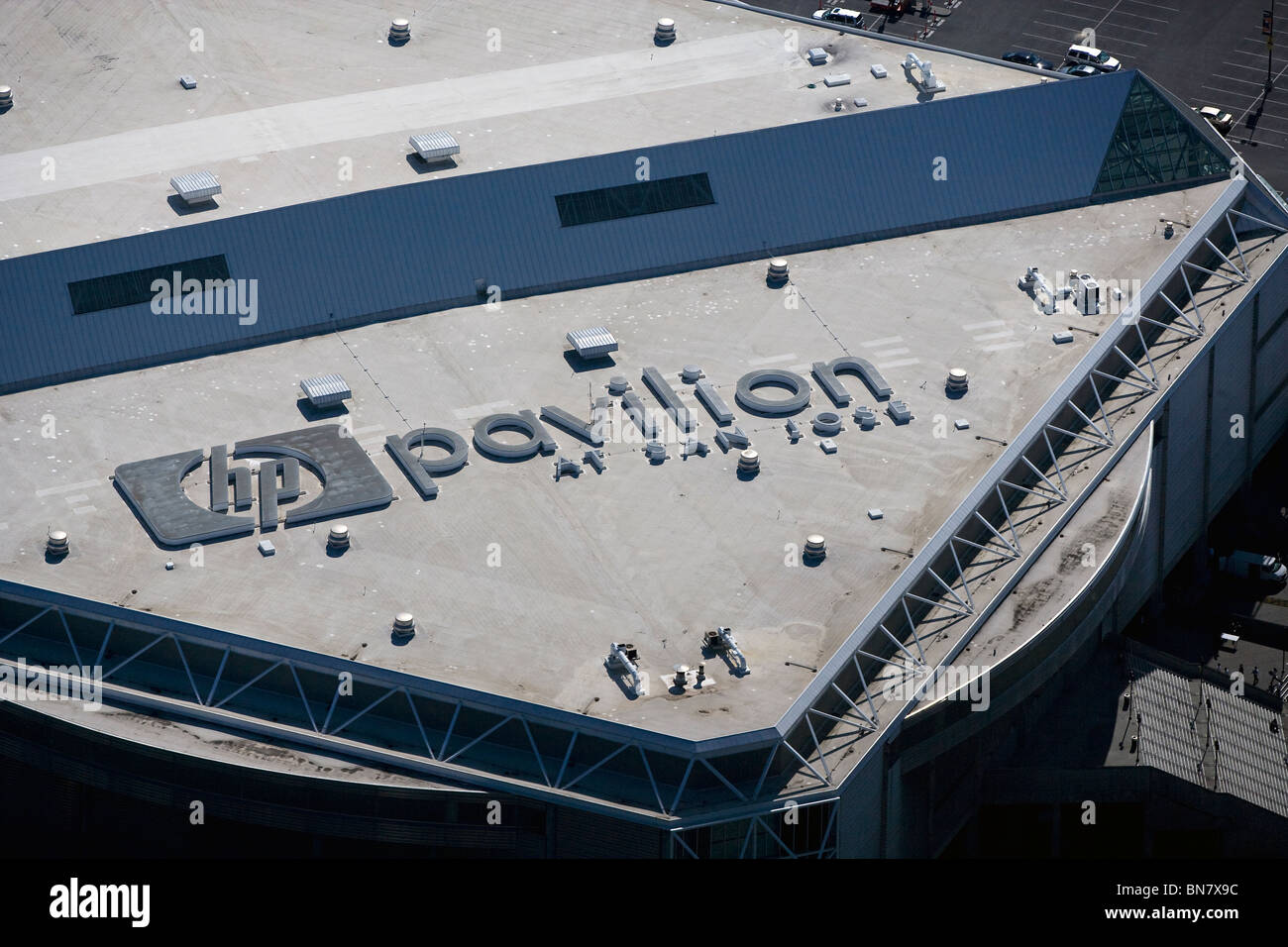 aerial view above HP Pavillion at San Jose California - Stock Image