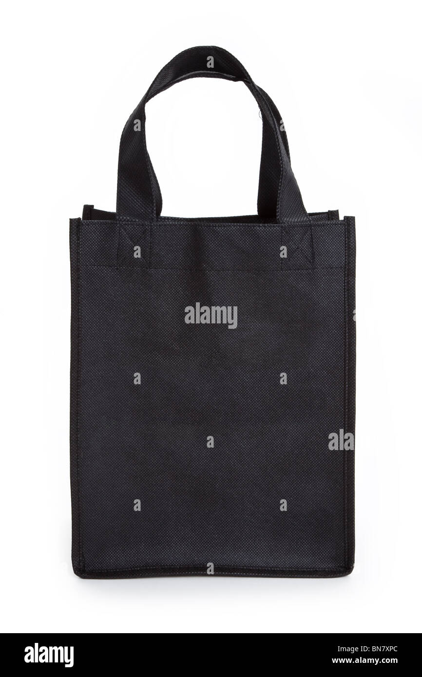 Black reusable shopping bag with white background - Stock Image