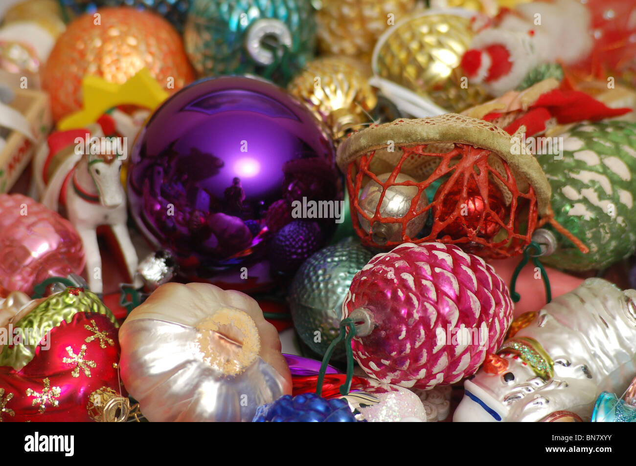 Christmas Ornaments Assortment With Bright Colors Close Up Stock