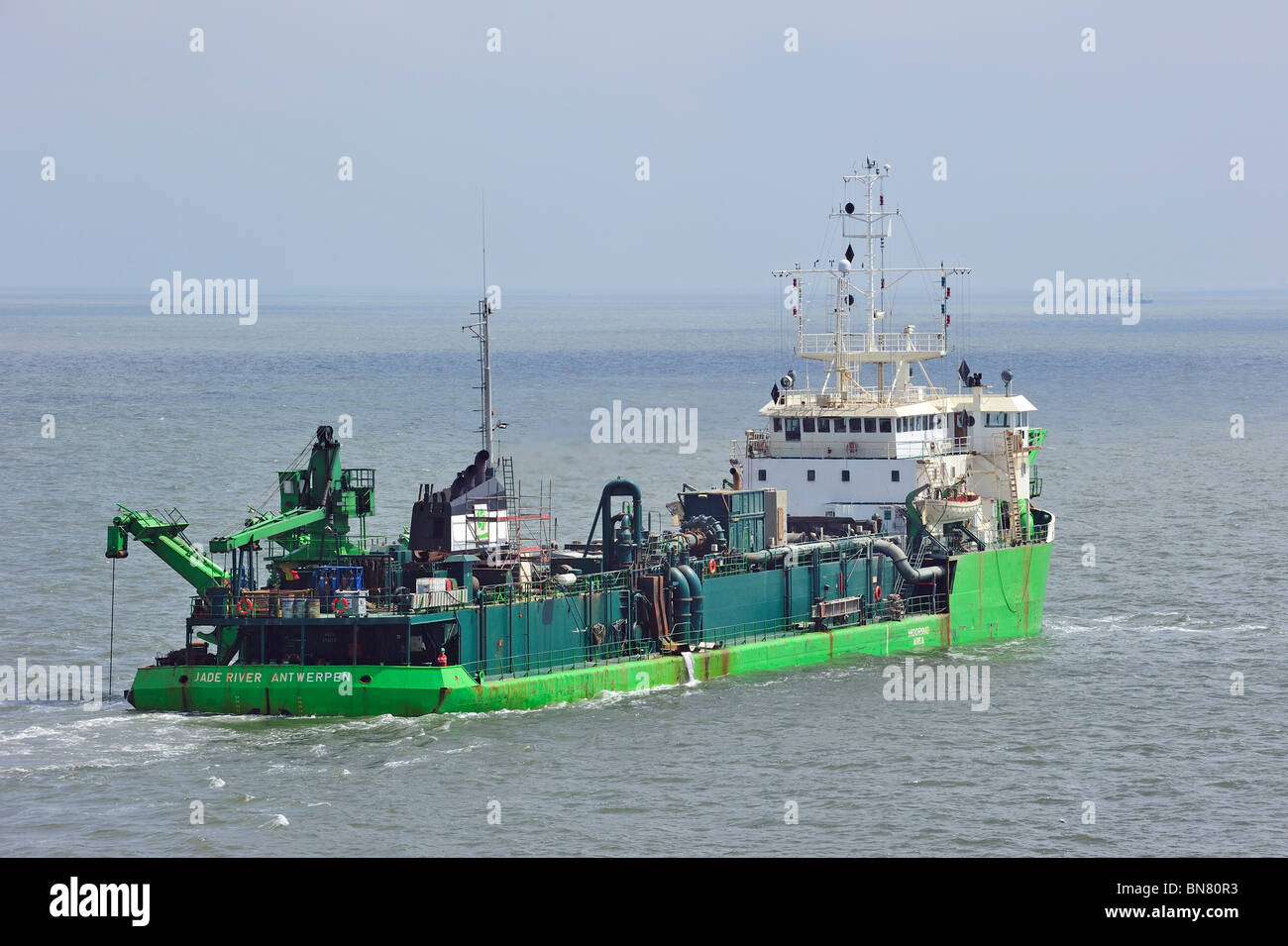 The dredger Jade River on the North Sea, Belgium - Stock Image