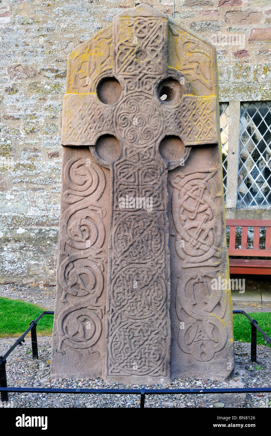 The Aberlemno Kirkyard Cross Slab, a Pictish stone showing a Celtic cross in Scotland, UK Stock Photo