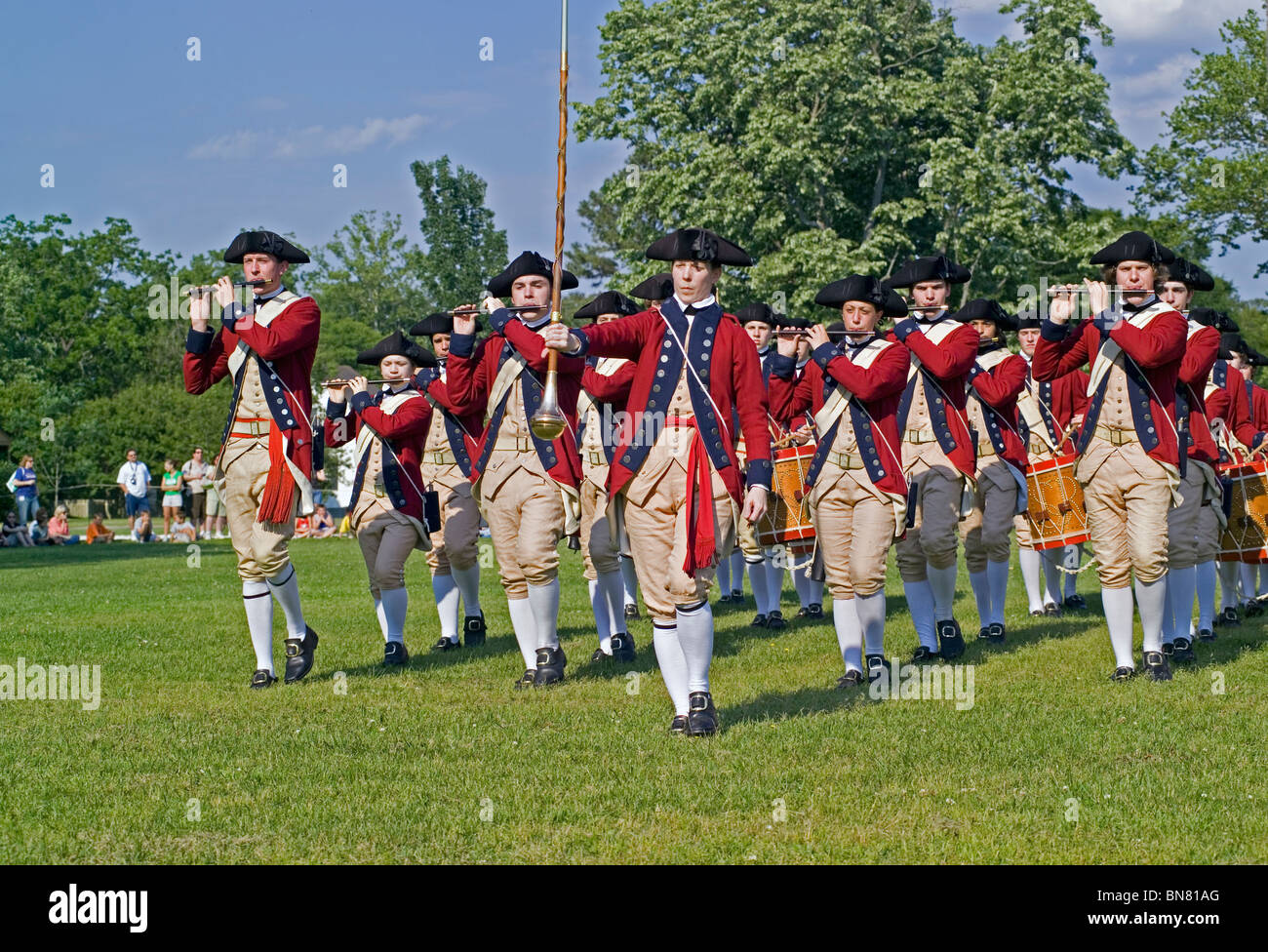 Young military musicians in Revolutionary War uniforms