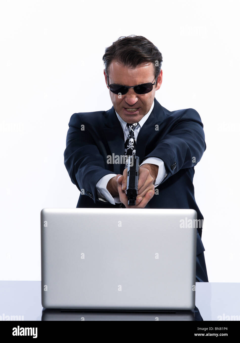 man caucasian hacker computer attack isolated studio on white background - Stock Image