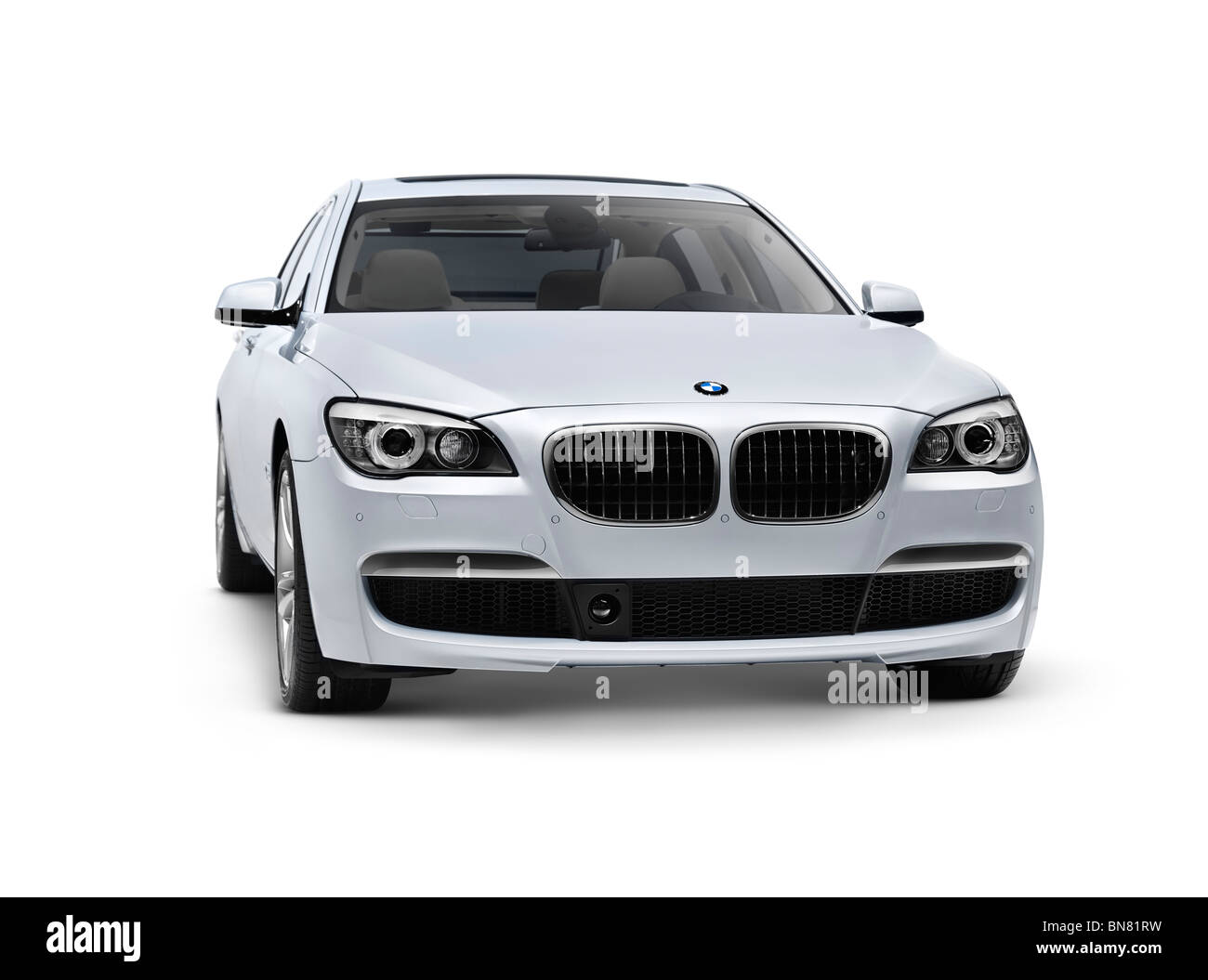 2010 BMW 760Li Individual 7 Series luxury sedan car isolated with clipping path on white background - Stock Image