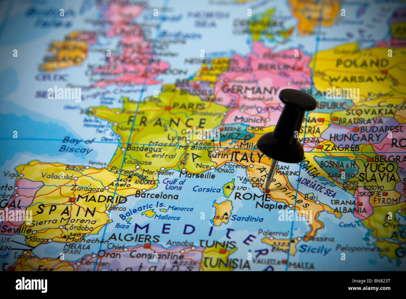 Small pin pointing on Rome (Italy) in a map of Europe Stock Photo