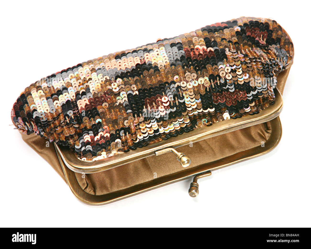Women personal accessory shiny purse - Stock Image