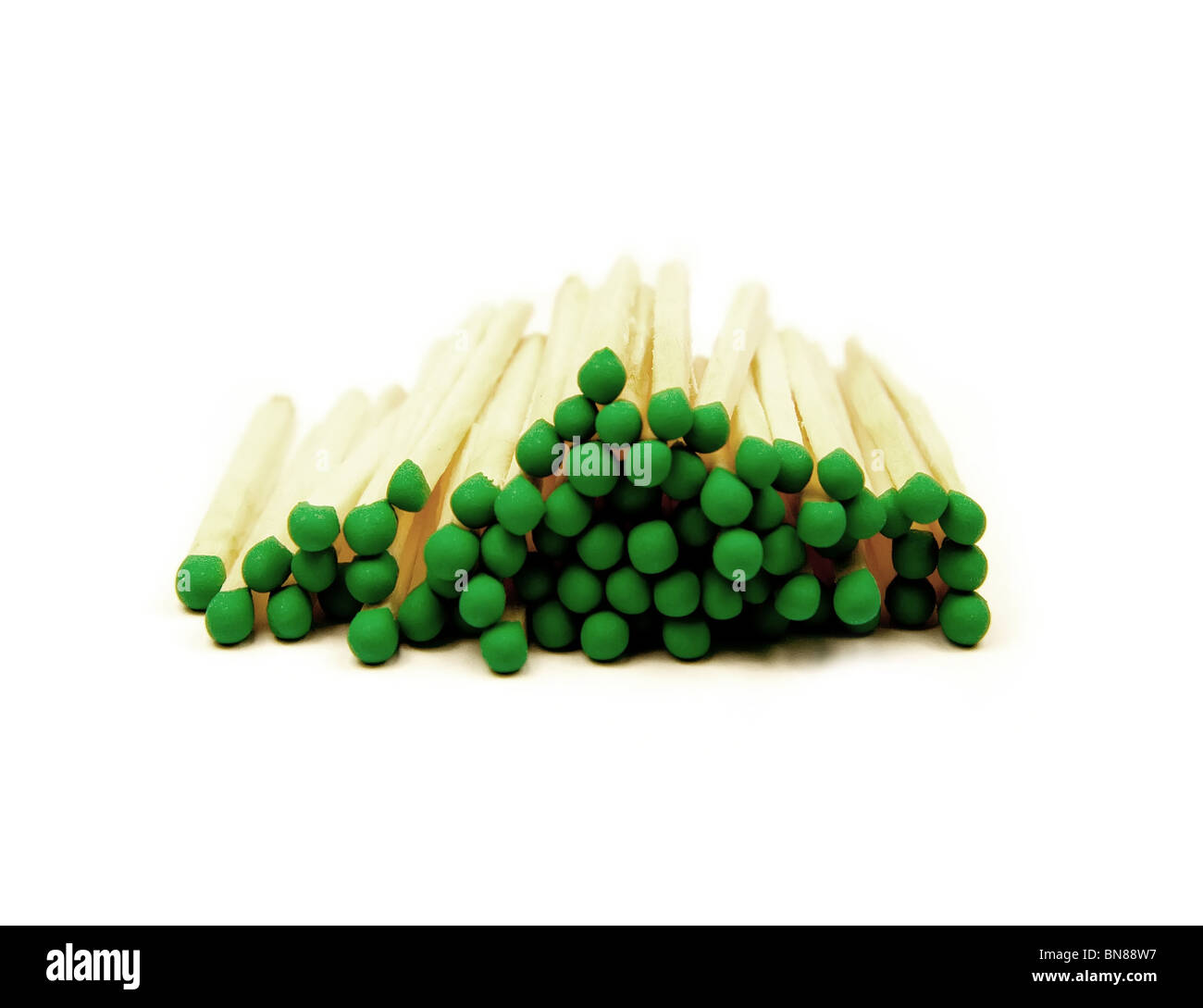 Close up photo of matches isolated on white - Stock Image
