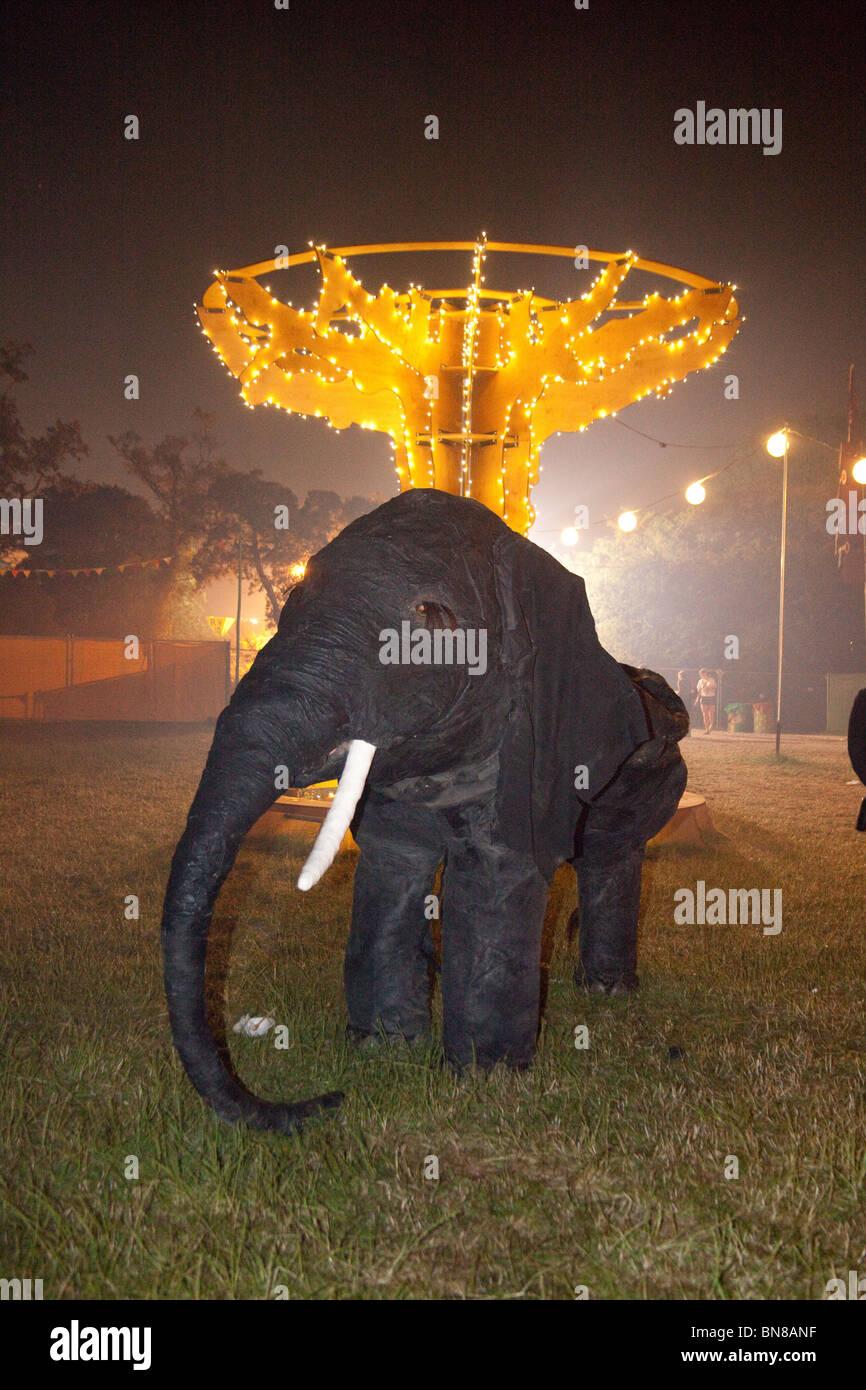 Backstage elephant at the Glastonbury festival 2010 - Stock Image