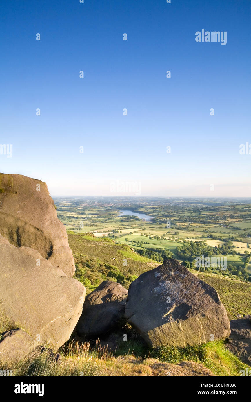 Looking towards Tittesworth Reservoir from The Roaches, Staffordshire Moorlands, Peak District, UK - Stock Image