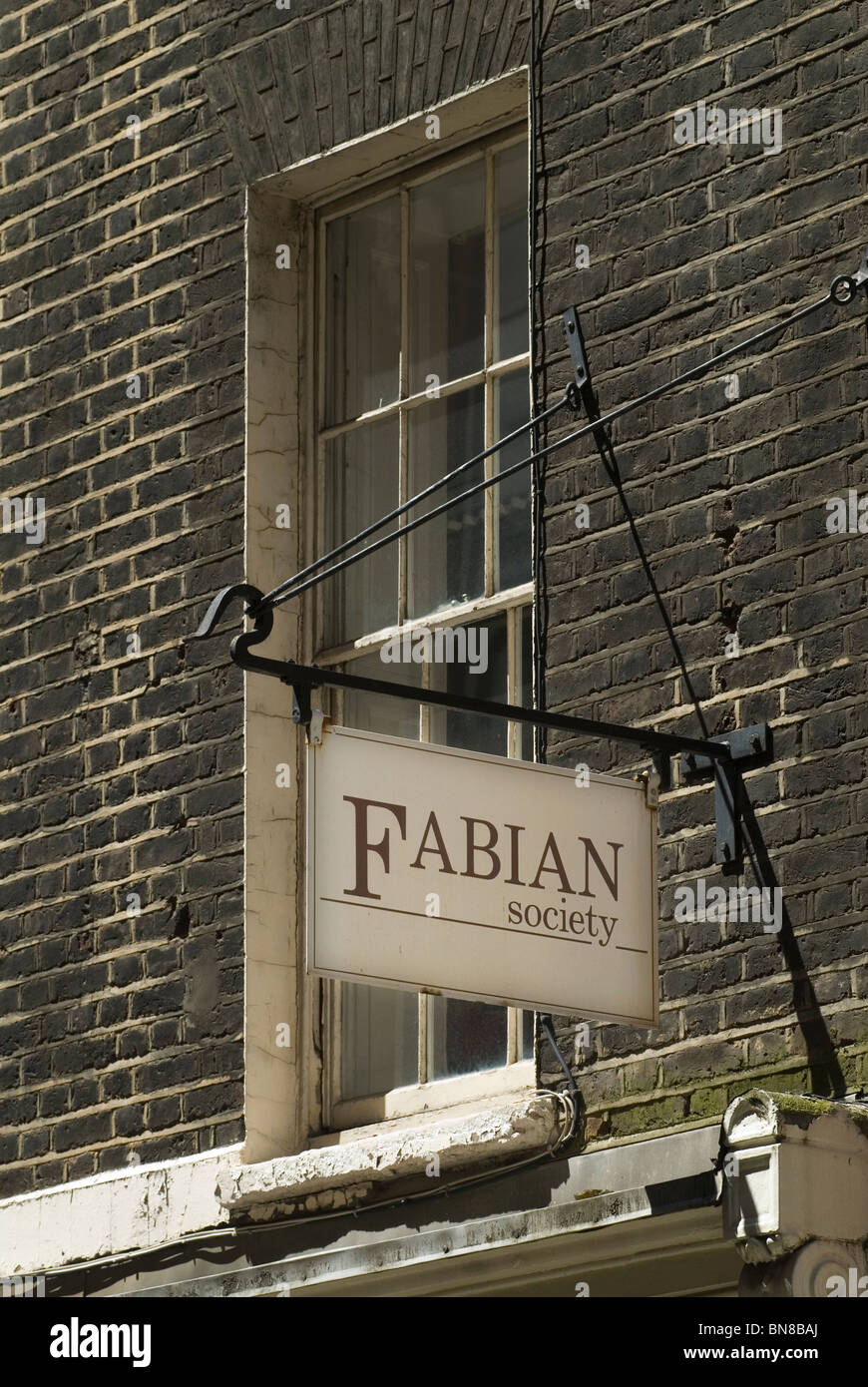Fabian Society sign first floor office in Dartmouth Street London SW1. UK - Stock Image