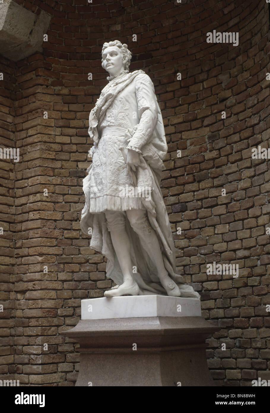 Marble statue of Ludwig II, signed Elisabet Ney 1870, Herrenchiemsee, Bavaria. - Stock Image