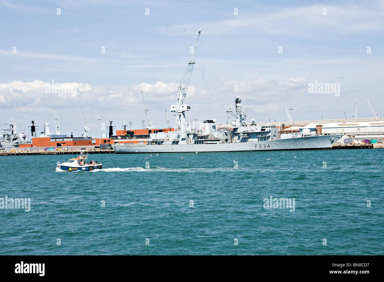 British Royal Navy Type 23 Duke Class Frigate HMS Iron Duke F234 Docked at Portsmouth Naval Dockyard England United - Stock Image
