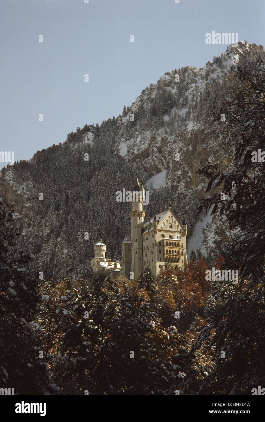 Exterior of Neuschwanstein castle, built by Ludwig II of Bavaria. - Stock Image