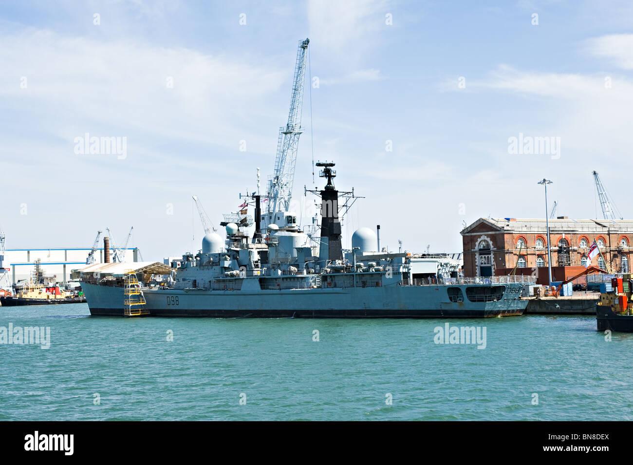 Royal Navy Type 42 Sheffield Class Destroyer HMS York D98 Docked at Portsmouth Naval Dockyard England UK - Stock Image