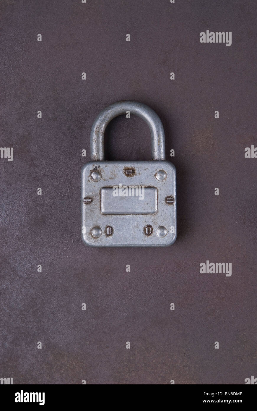 Old fashioned padlock closed Stock Photo