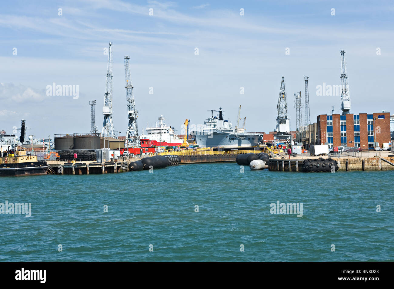 British Royal Navy Ships HMS Endurance A171 and HMS Invincible R05 Docked at Portsmouth Naval Dockyard England United - Stock Image