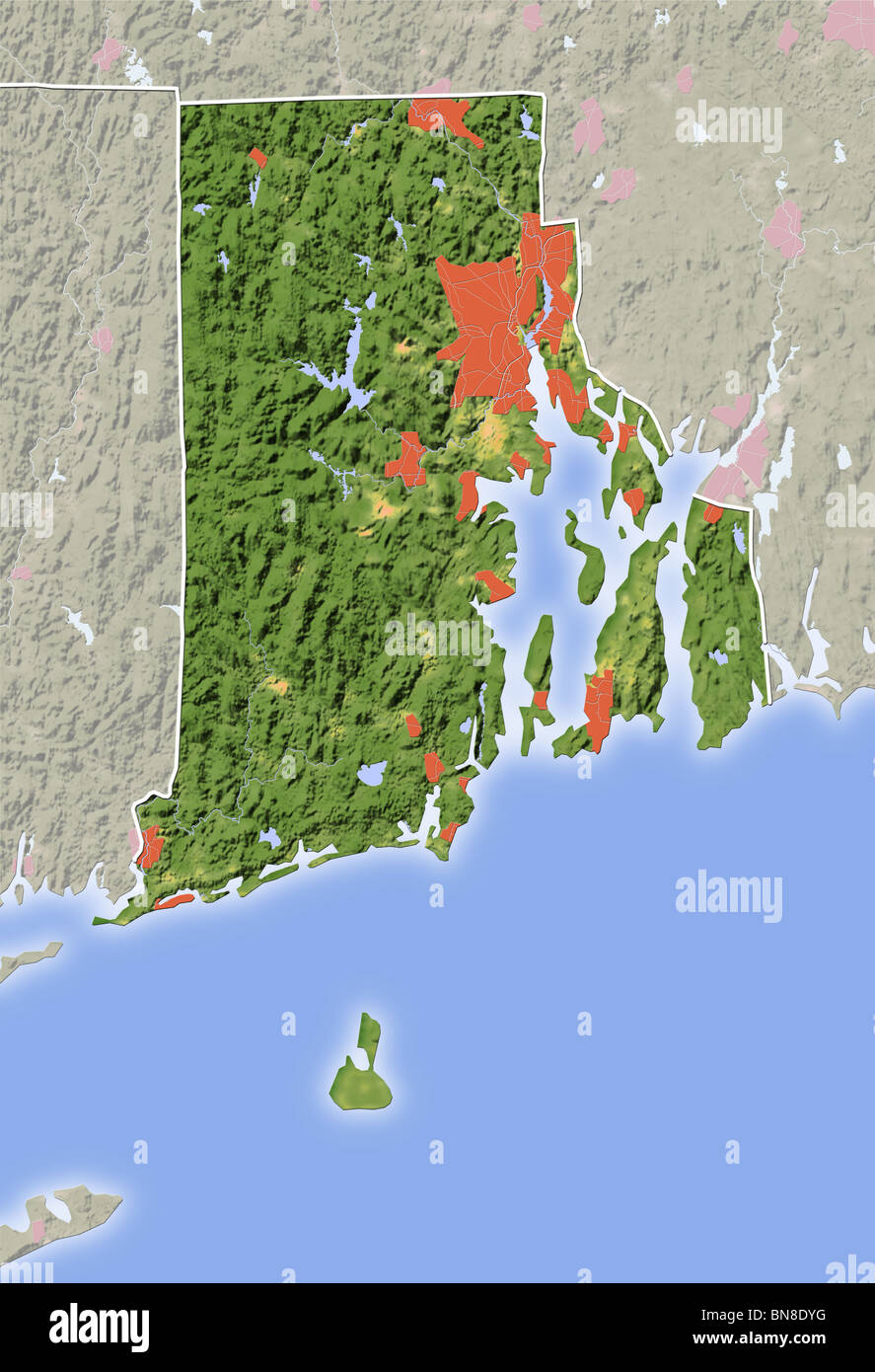 Topographic Map Rhode Island.Rhode Island Shaded Relief Map Stock Photo 30304724 Alamy