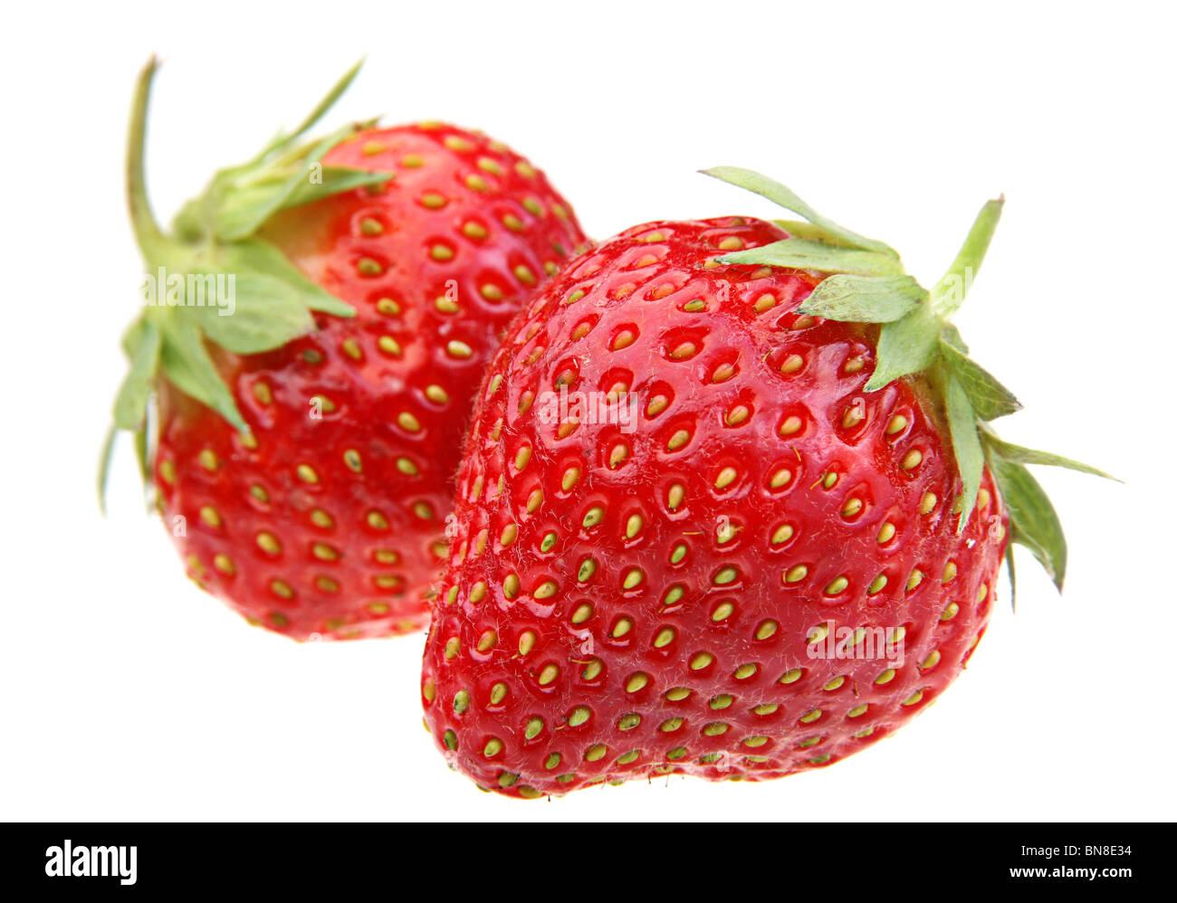 Strawberry fresh fruit isolated on white background - Stock Image