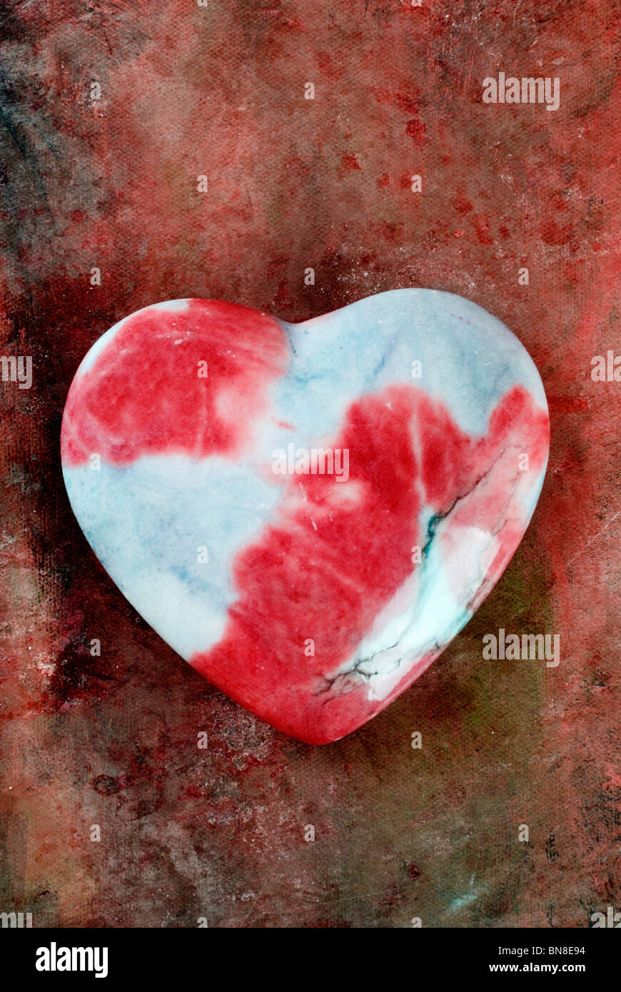 Red and blue stone heart Stock Photo