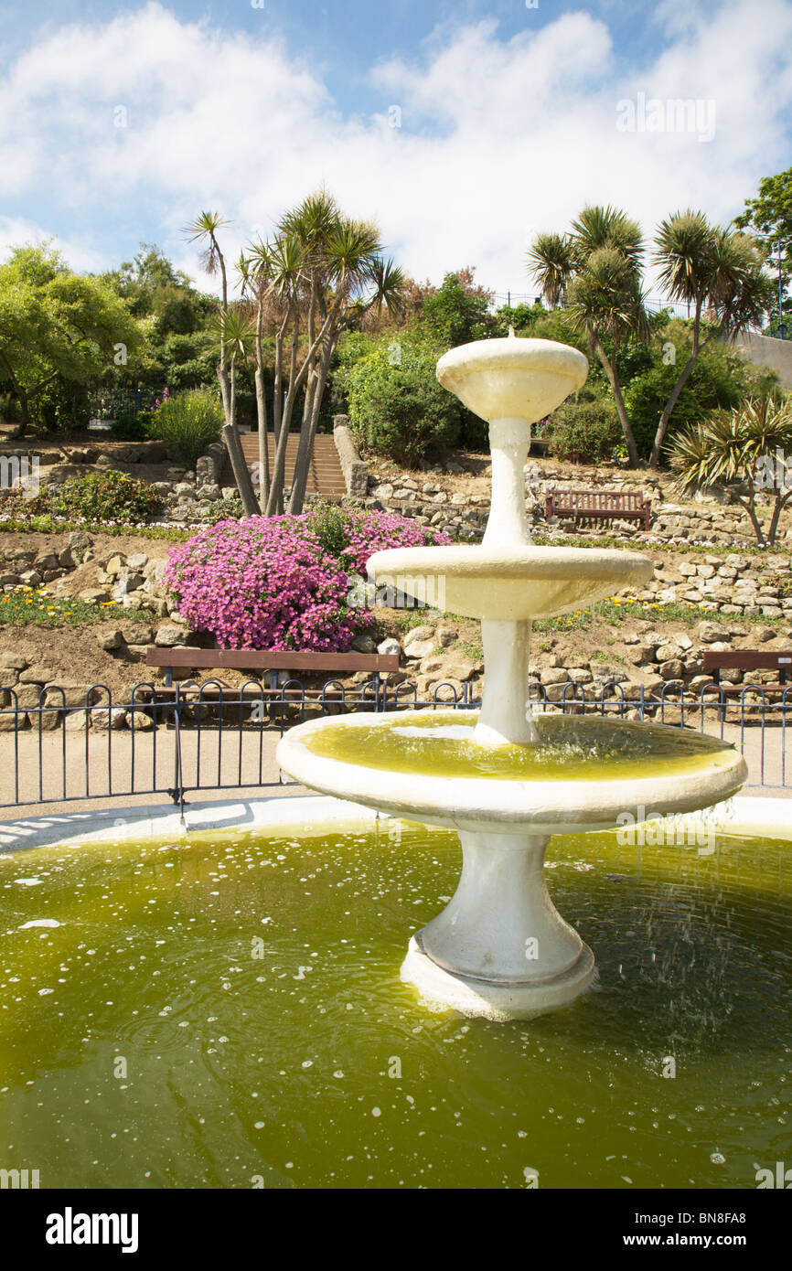 A water fountain in the gardens on Felixstowe seafront, Suffolk, England. - Stock Image