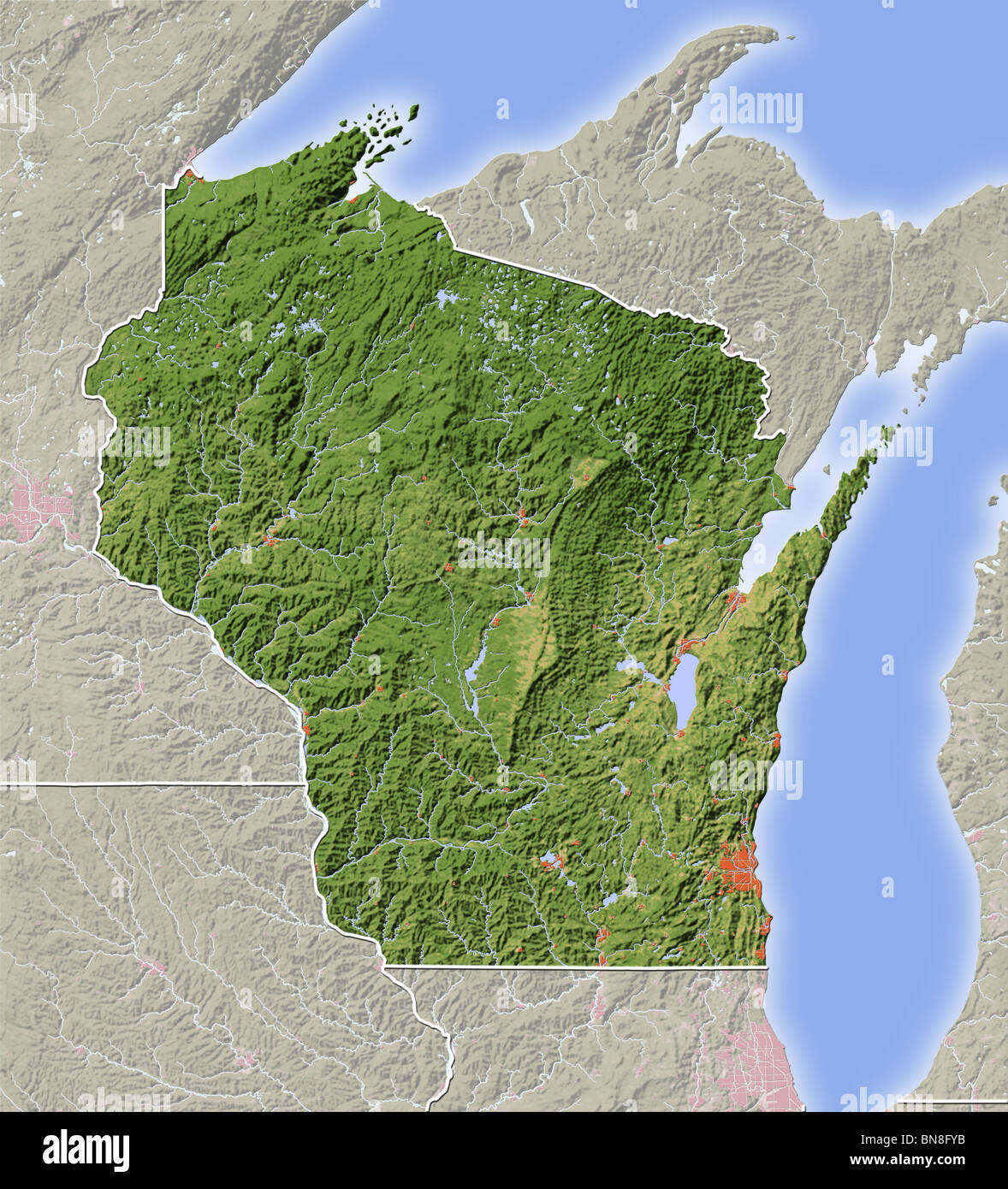 Map Of Wisconsin Stock Photos & Map Of Wisconsin Stock Images - Alamy