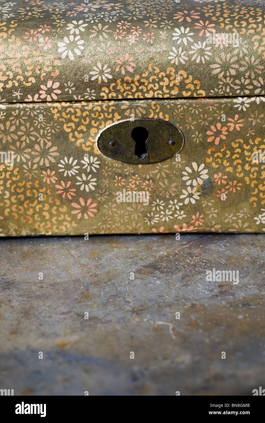 Keyhole of an old jewellery box - Stock Image