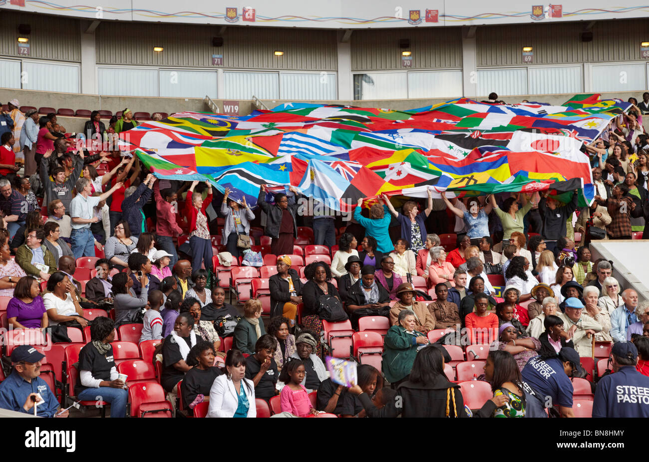 Section of the crowd at the 2010 London Global Day of Prayer. West Ham United Football Club, Upton Park, London, - Stock Image