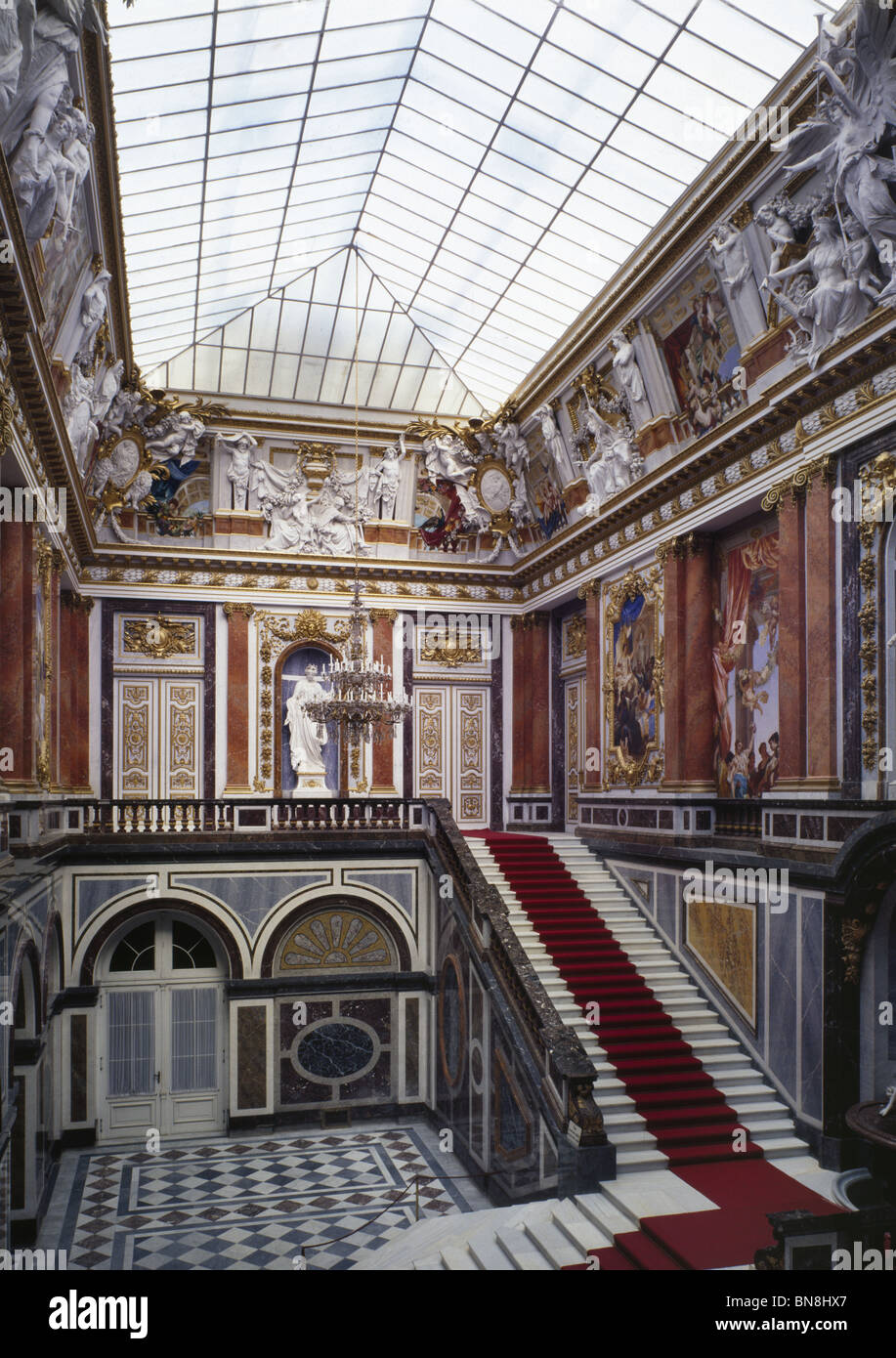 The Entrance Hall, Herrenchiemsee, Bavaria. Built by Mad Ludwig II of Bavaria 1878-1885, inspired by Versailles. - Stock Image