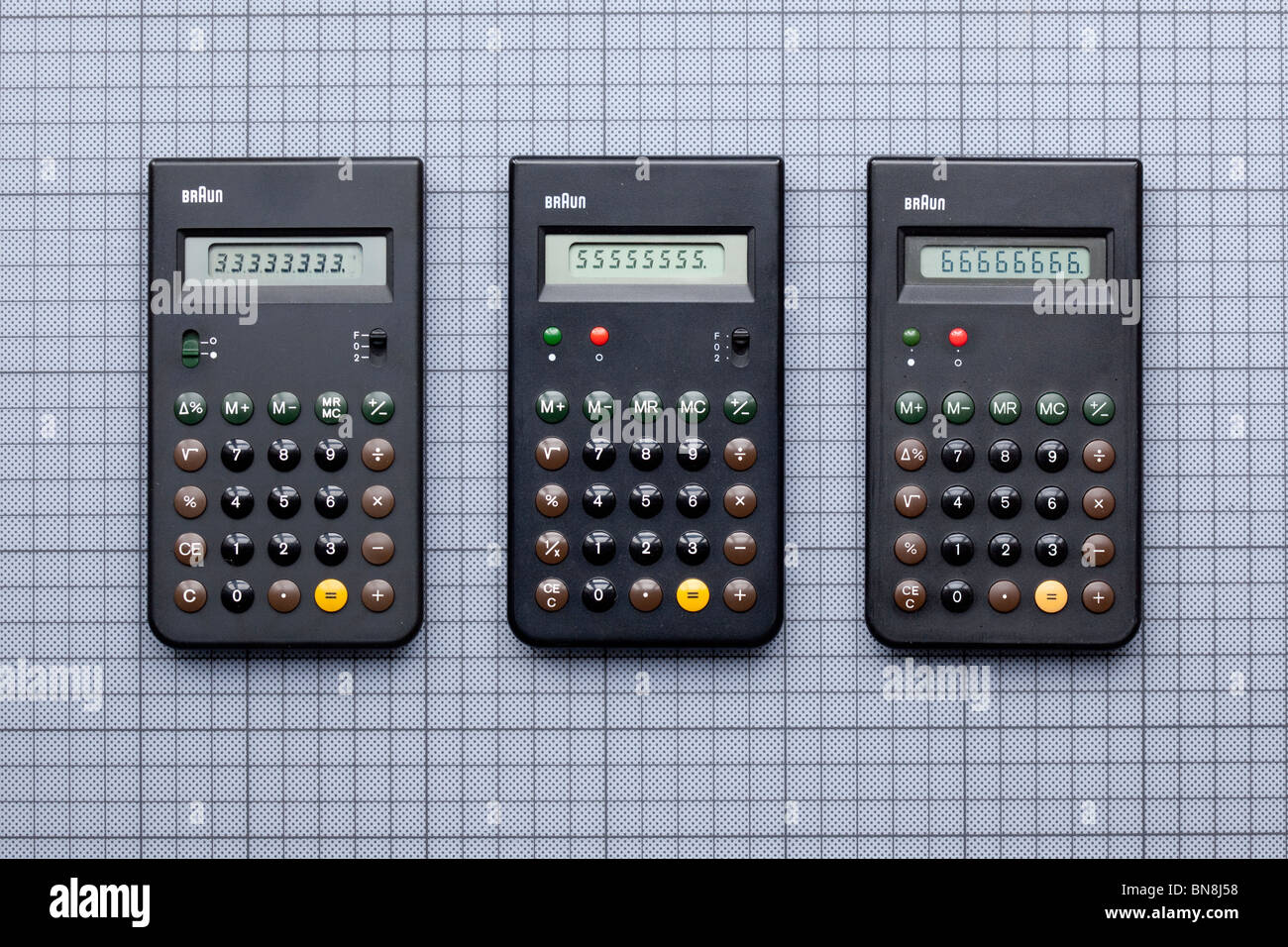 Three Braun calculators, ET33, ET55 and ET66, designed by Dieter Rams and Dietrich Lubs, 1977 - 1987 . and inspiration - Stock Image