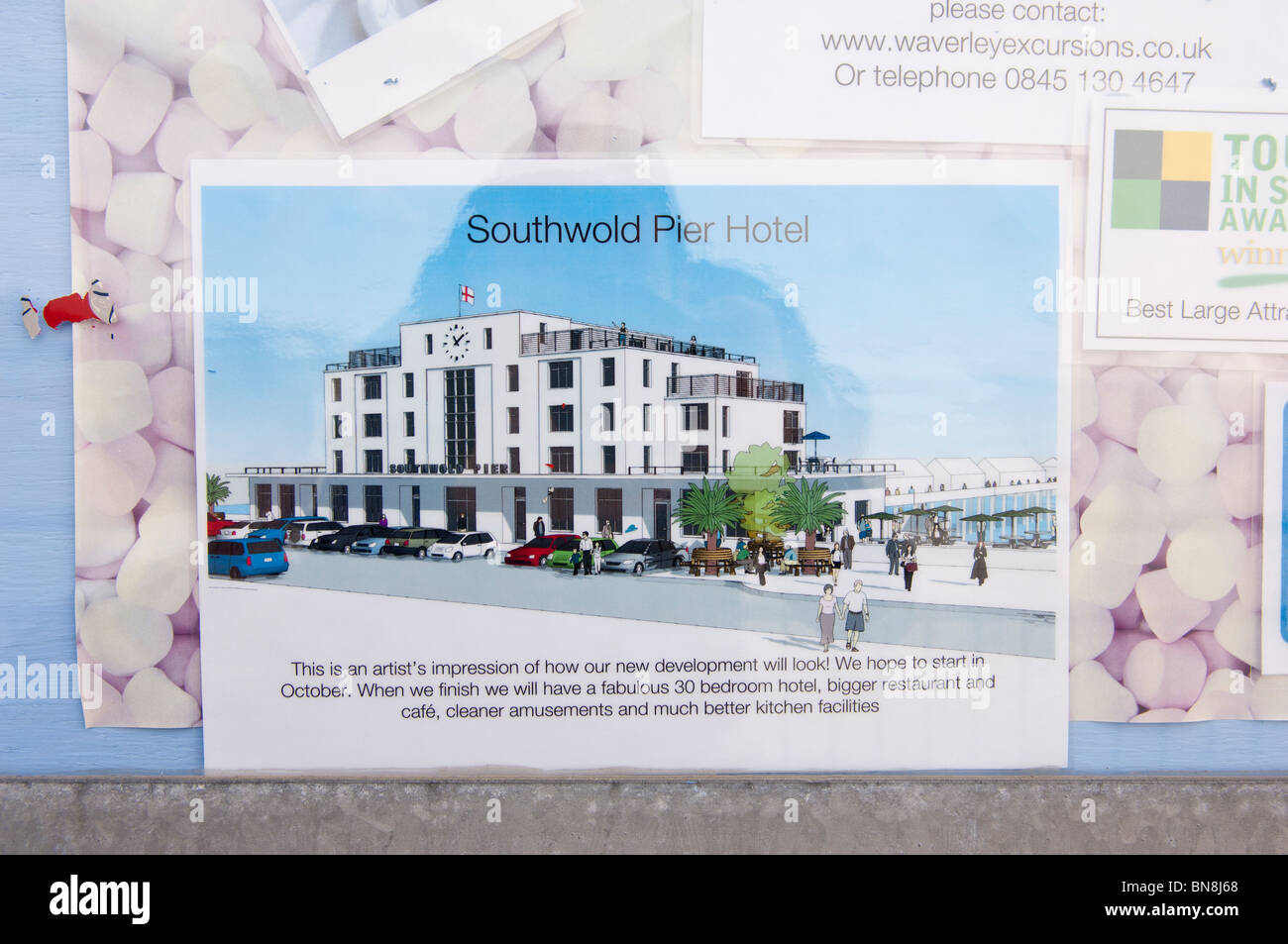 An artist's impression of how the new Southwold Pier Hotel will look at Southwold , Suffolk , England , Great - Stock Image