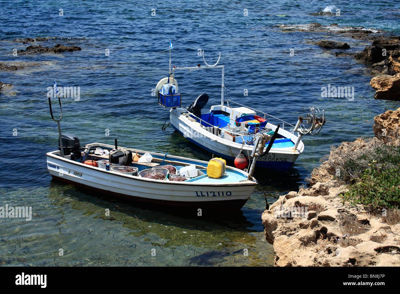 Fishing Boats Moored Near Coral Bay Pafos Cyprus EU European Union Europe - Stock Image