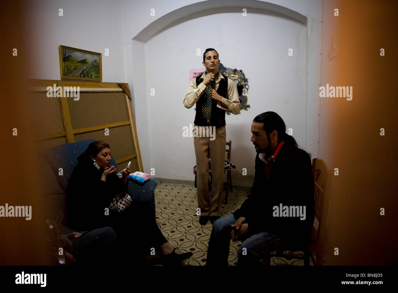 Flamenco singers and dancers get ready backstage before competing in a National Flamenco competition in Ubrique, - Stock Image