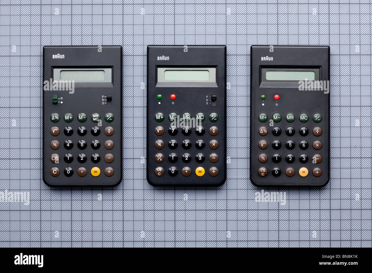 Three Braun calculators, ET33, ET55 and ET66, designed by Dieter Rams and Dietrich Lubs, 1977 - 1987. and inspiration - Stock Image