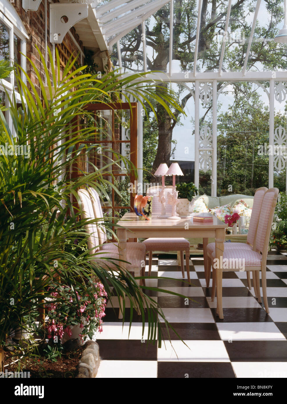 Black White Vinyl Flooring In Conservatory Dining Room With Tall Houseplants And Pink Upholstered Chairs