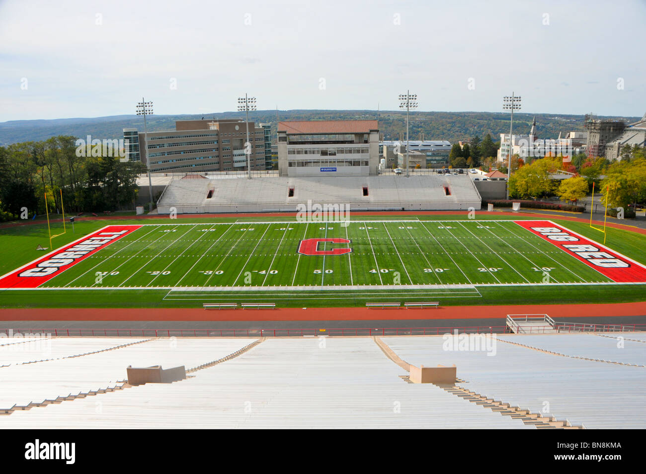 Football Stadium Cornell University Campus Ithaca New York Finger Lakes Region Schoellkopf Memorial - Stock Image