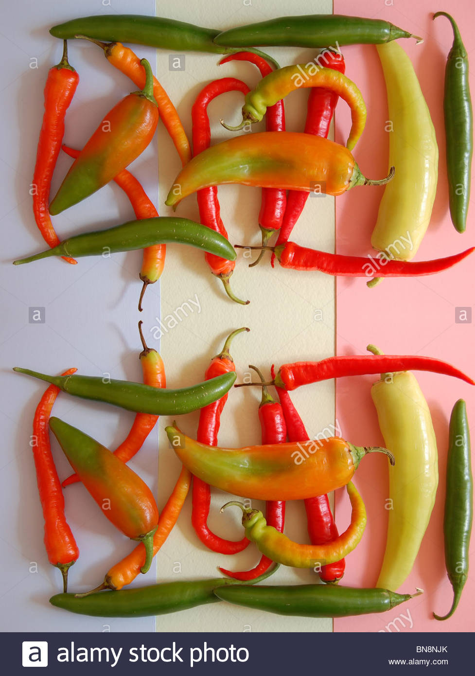 tabletop view assorted colorful Mexican chilies on three color light red yellow blue backdrop emphasis on  negative - Stock Image