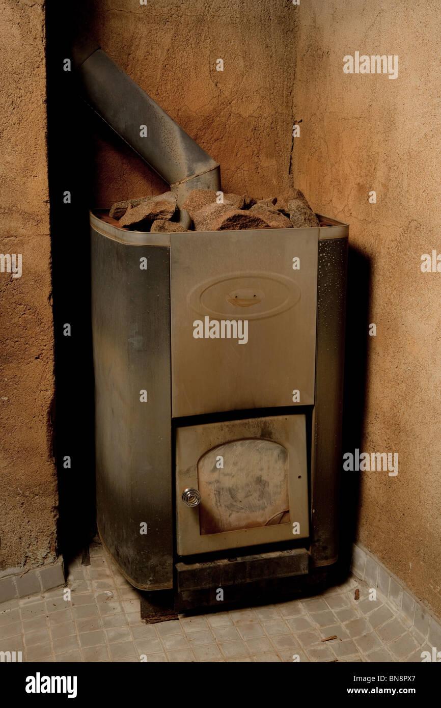 sauna heater or stove - Stock Image