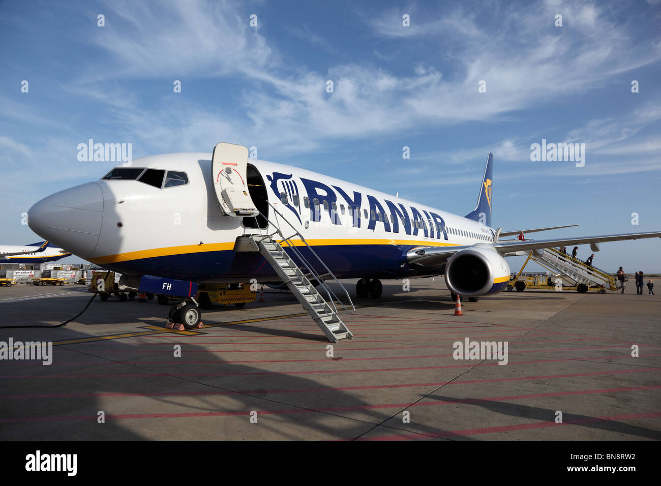 Ryanair aircraft at the airport of Faro, Portugal. June 20th, 2010 - Stock Image