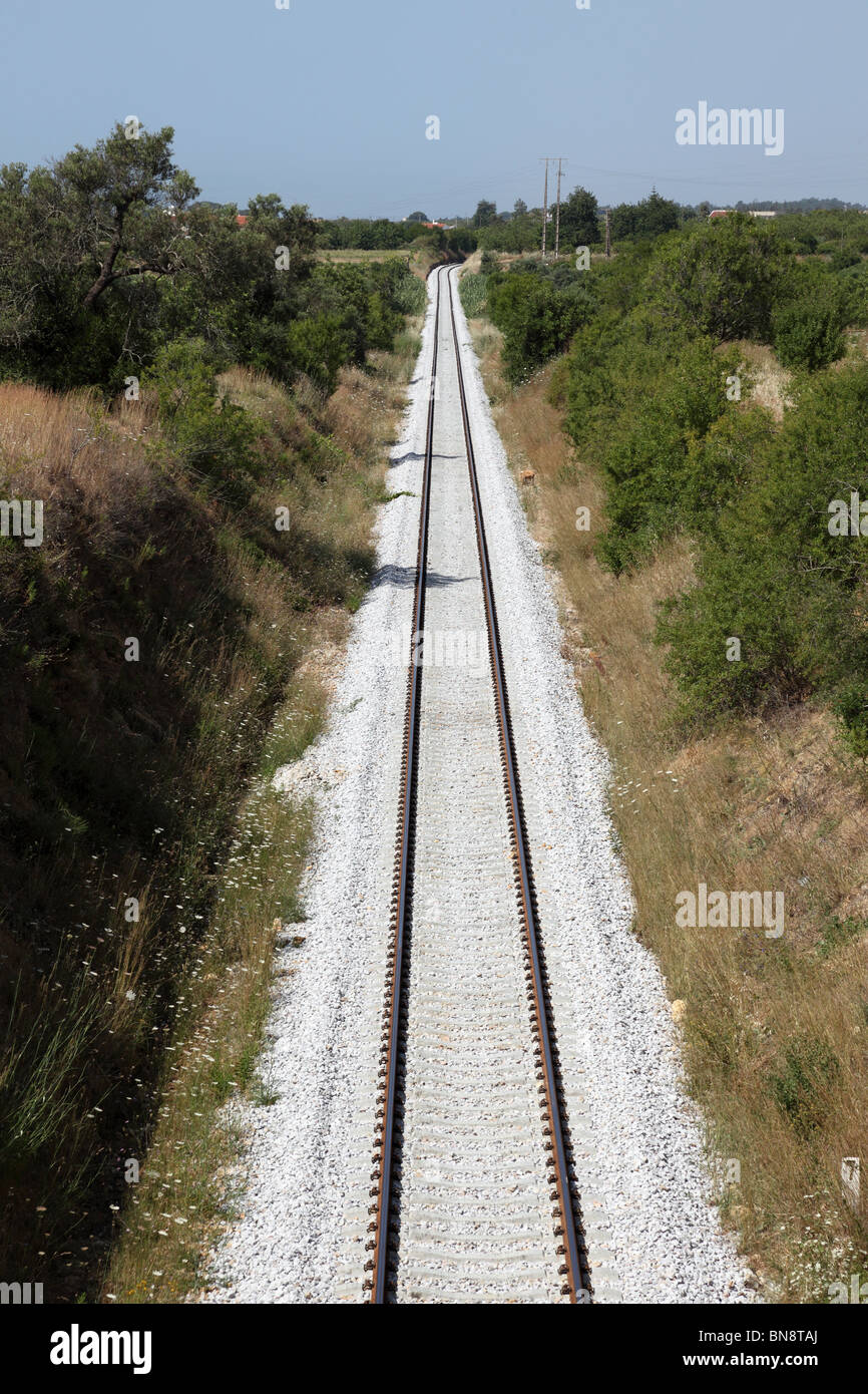 Vertical picture of a railroad track through the landscape - Stock Image